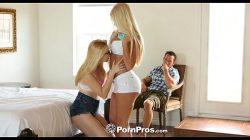 HD – PornPros Dwie nastoletnie blondynki podskakują na kutasie